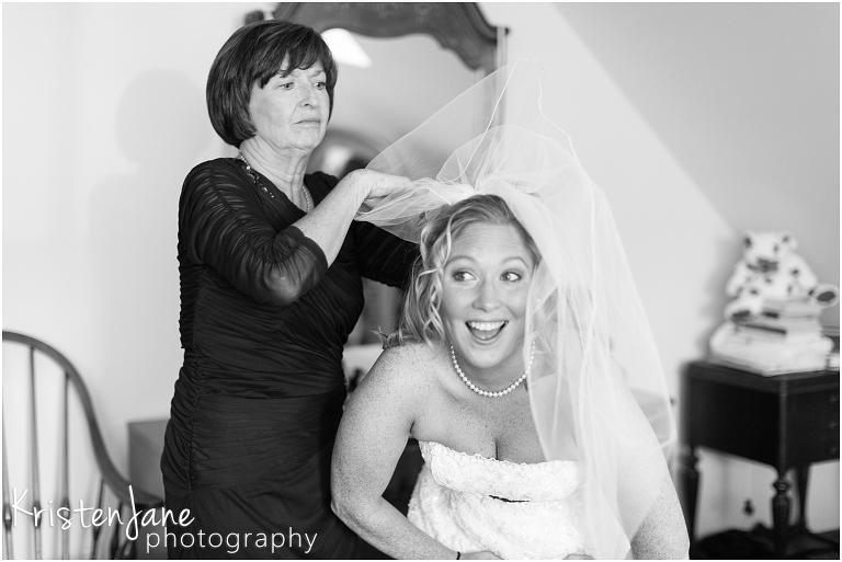 CT Wedding Photography - bride putting on veil